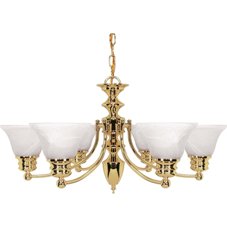Empire 26-in 6-Light Polished Brass Alabaster Glass Candle Chandelier