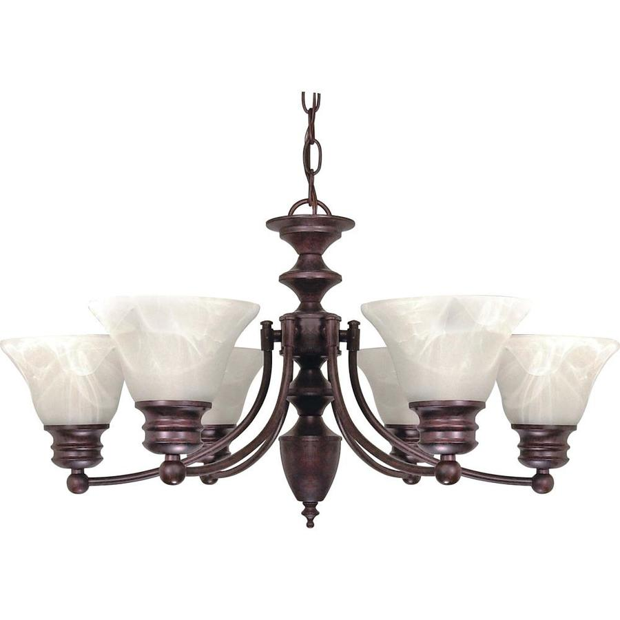 Empire 26-in 6-Light Old Bronze Alabaster Glass Candle Chandelier