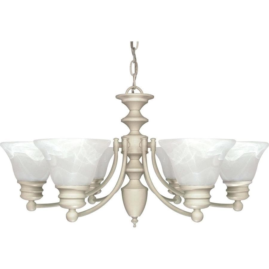 Empire 26-in 6-Light Textured White Alabaster Glass Candle Chandelier
