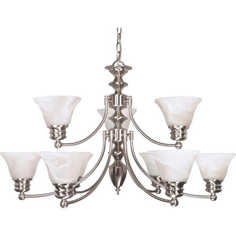 Empire 32-in 9-Light Brushed Nickel Alabaster Glass Tiered Chandelier