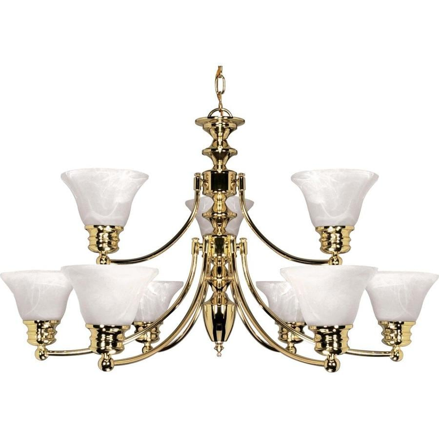 Empire 32-in 9-Light Polished Brass Alabaster Glass Tiered Chandelier
