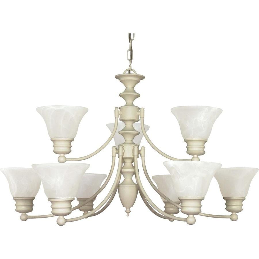 Empire 32-in 9-Light Textured white Alabaster Glass Tiered Chandelier