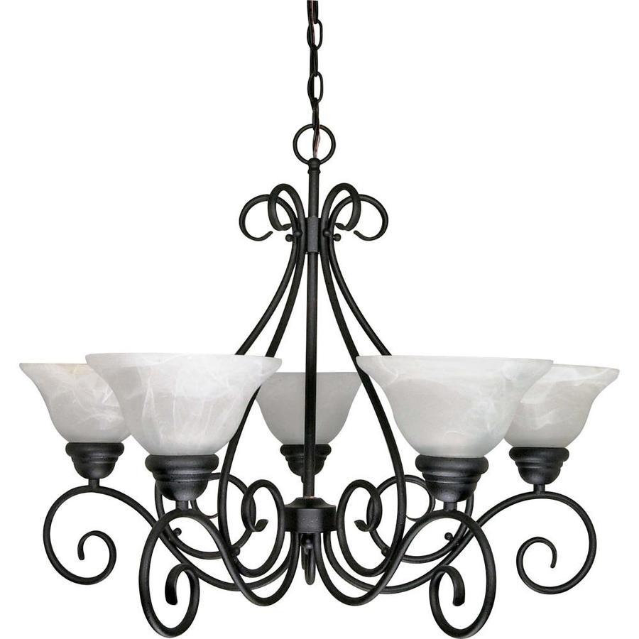 Castillo 28-in 5-Light Textured Black Alabaster Glass Candle Chandelier