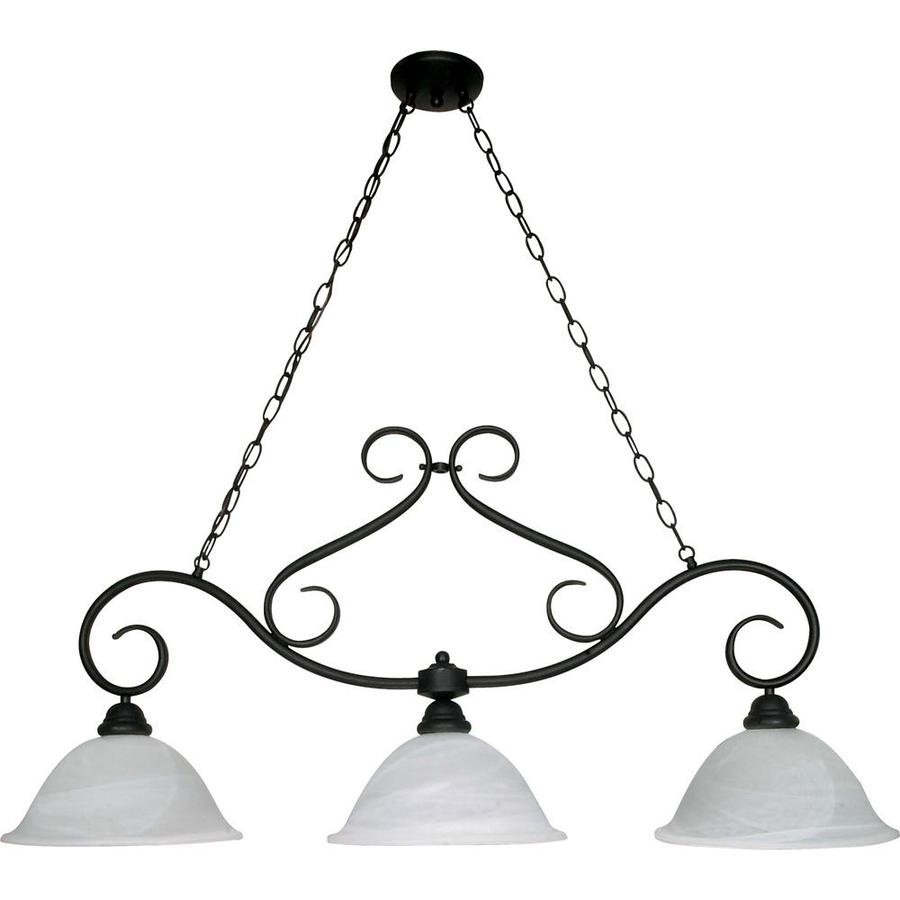 Castillo 11.75-in 3-Light Textured black Alabaster Glass Linear Chandelier