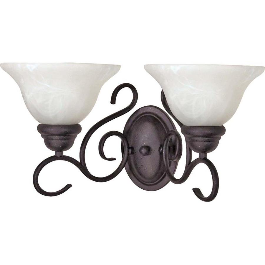 Castillo 14.75-in W 2-Light Textured Black Arm Hardwired Wall Sconce