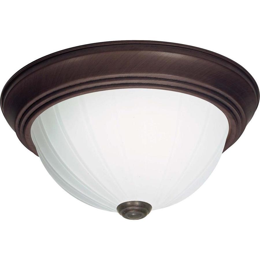 13-in W Old Bronze Standard Flush Mount Light