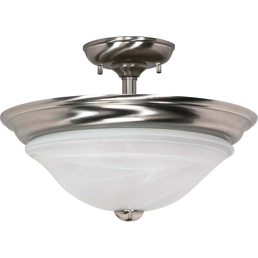 Divina 17.52-in W Brushed Nickel Alabaster Glass Semi-Flush Mount Light