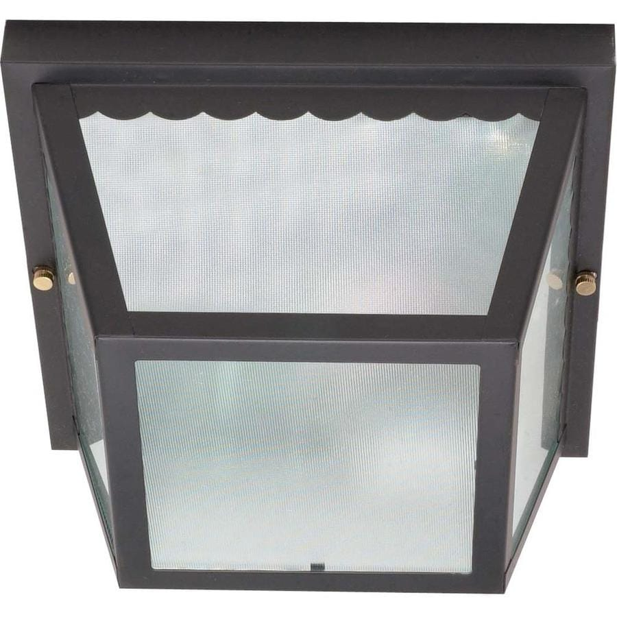9.25-in W Black Outdoor Flush-Mount Light