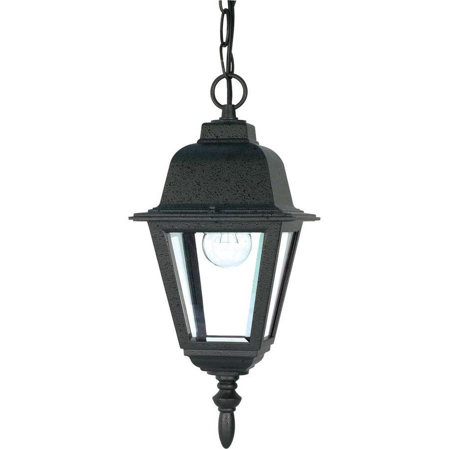 15.44-in W Textured Black Outdoor Flush-Mount Light