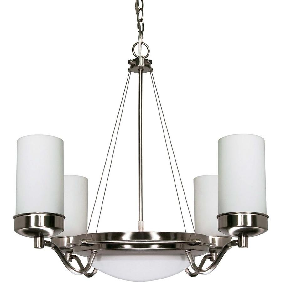 Polaris 28.5-in 6-Light Brushed Nickel Tinted Glass Candle Chandelier
