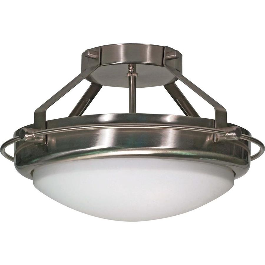 Divina 14.21-in W Brushed Nickel Frosted Glass Semi-Flush Mount Light