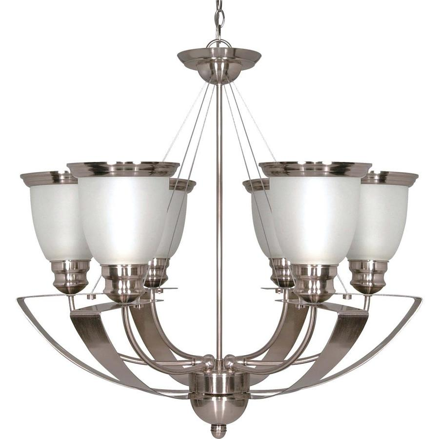 Palladium 25-in 6-Light Smoked nickel Tinted Glass Candle Chandelier