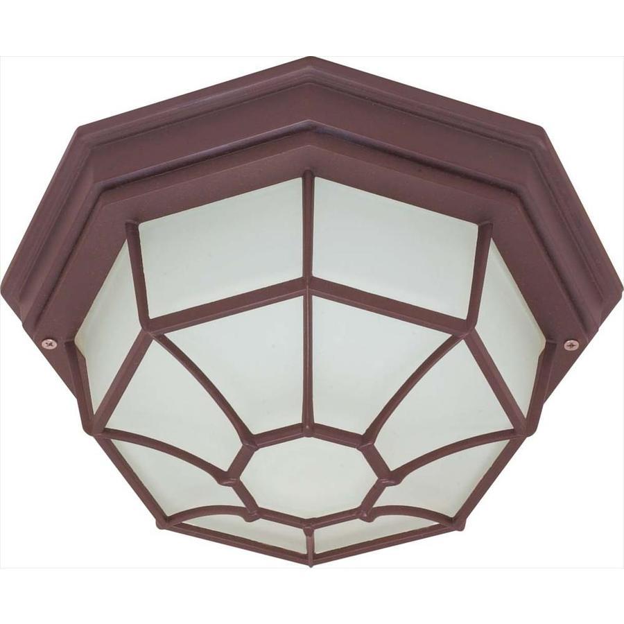 11.27-in W Old Bronze Outdoor Flush-Mount Light