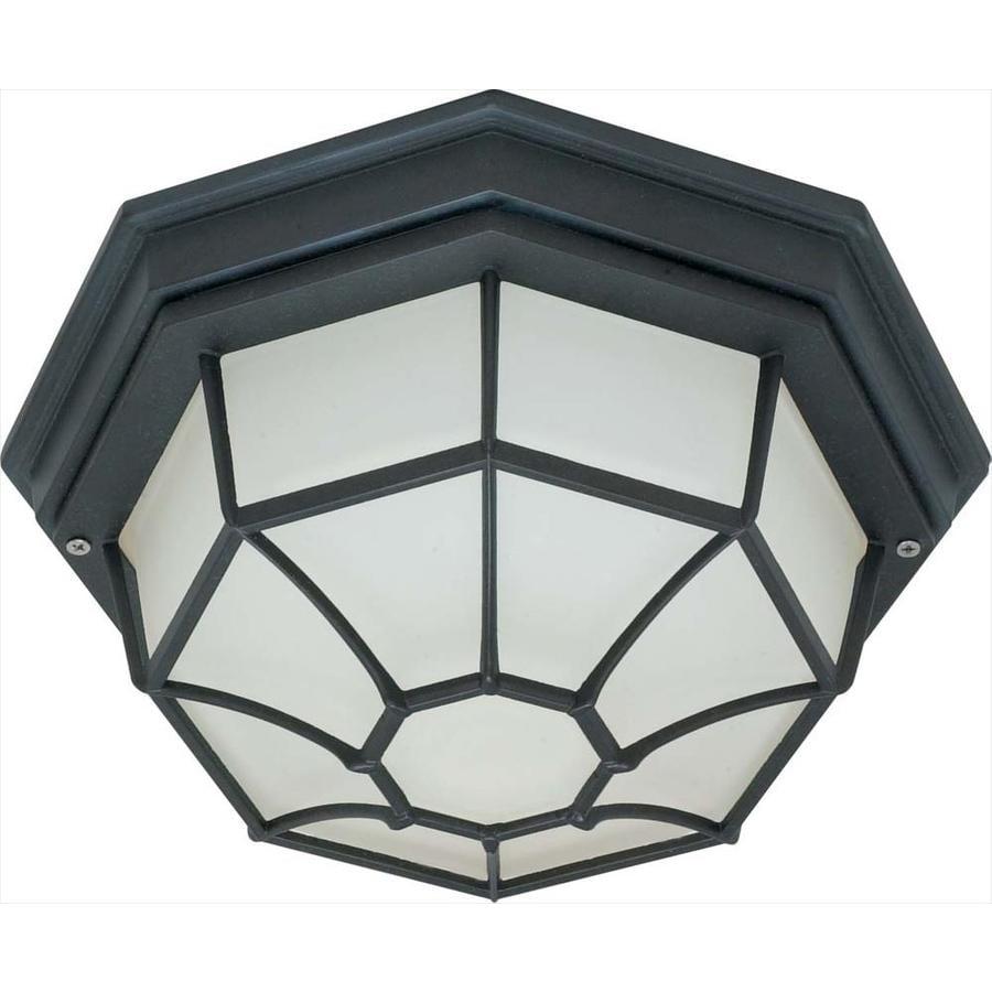 11.27-in W Textured Black Outdoor Flush-Mount Light
