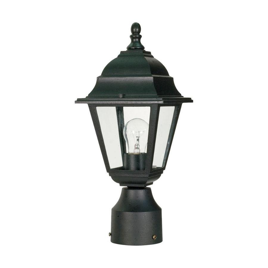 14.64-in W Textured Black Outdoor Flush-Mount Light