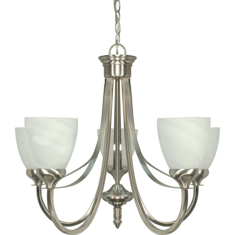 Triumph 24-in 5-Light Brushed Nickel Alabaster Glass Candle Chandelier
