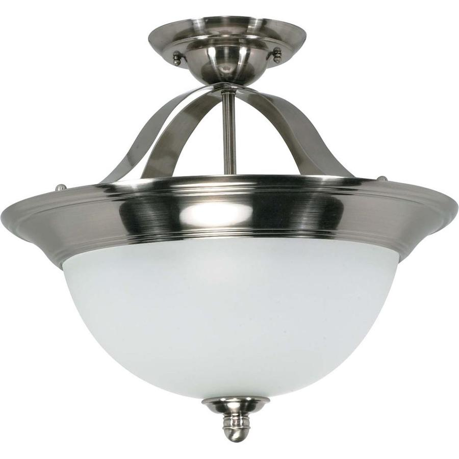 Divina 16.42-in W Smoked Nickel Frosted Glass Semi-Flush Mount Light