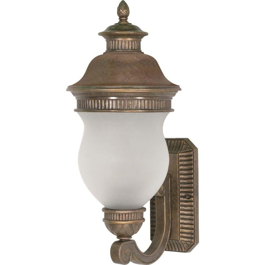 12.74-in H Platinum Gold Brass Outdoor Wall Light