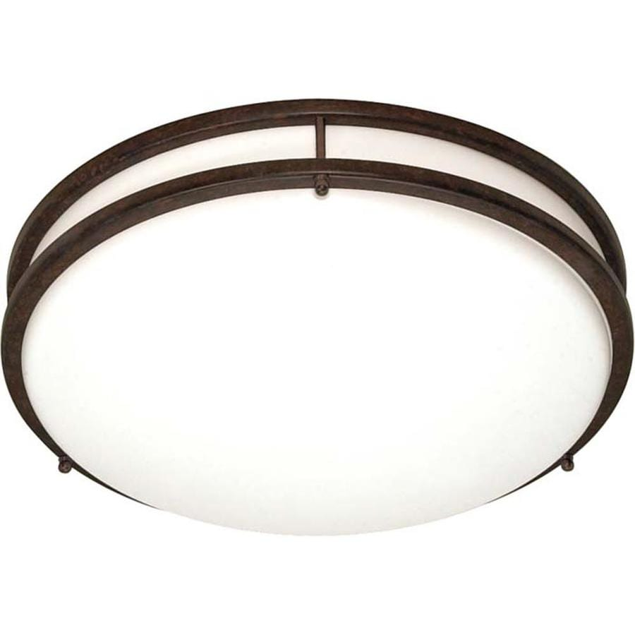 13-in W Old Bronze Standard Flush Mount Light