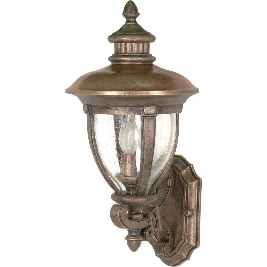 19.36-in H Platinum Gold Brass Outdoor Wall Light