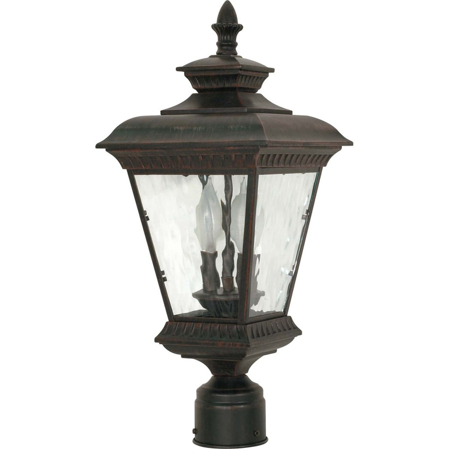 10.04-in W Old Penny Bronze Outdoor Flush-Mount Light