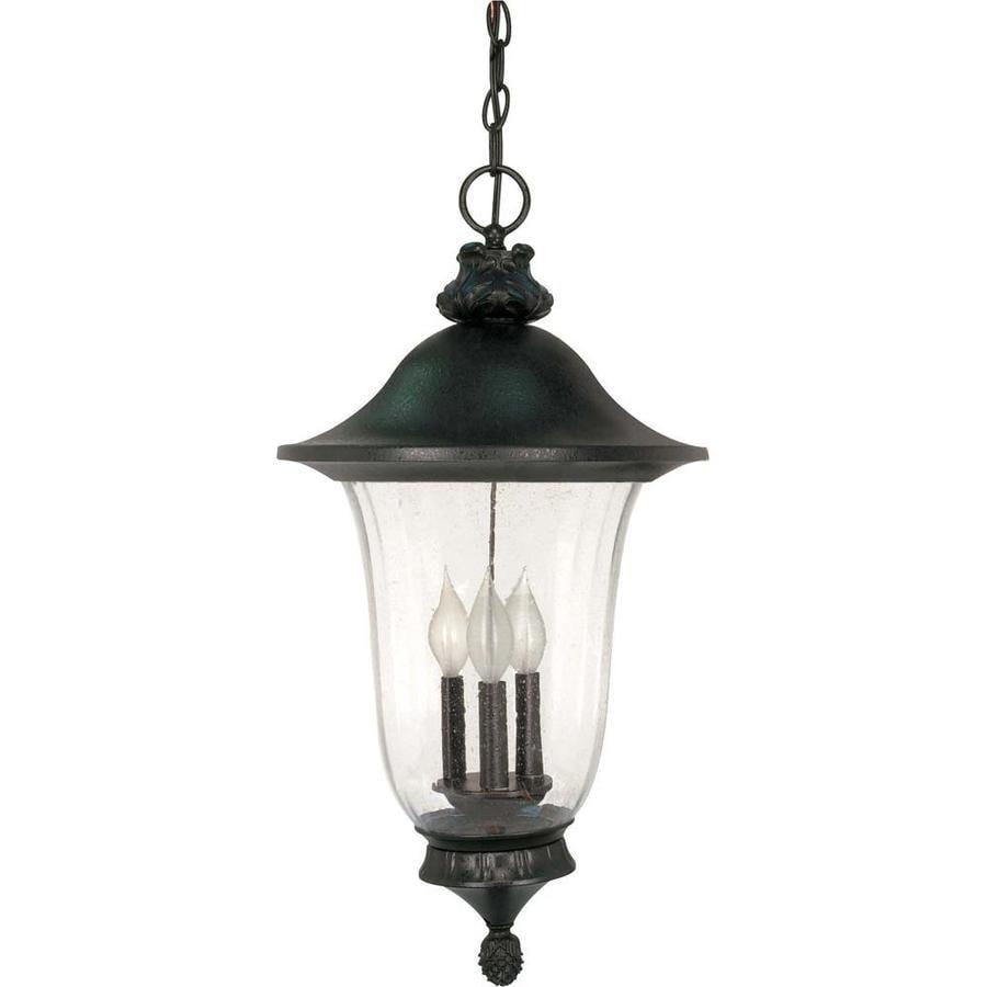 15.07-in W Textured Black Outdoor Flush-Mount Light