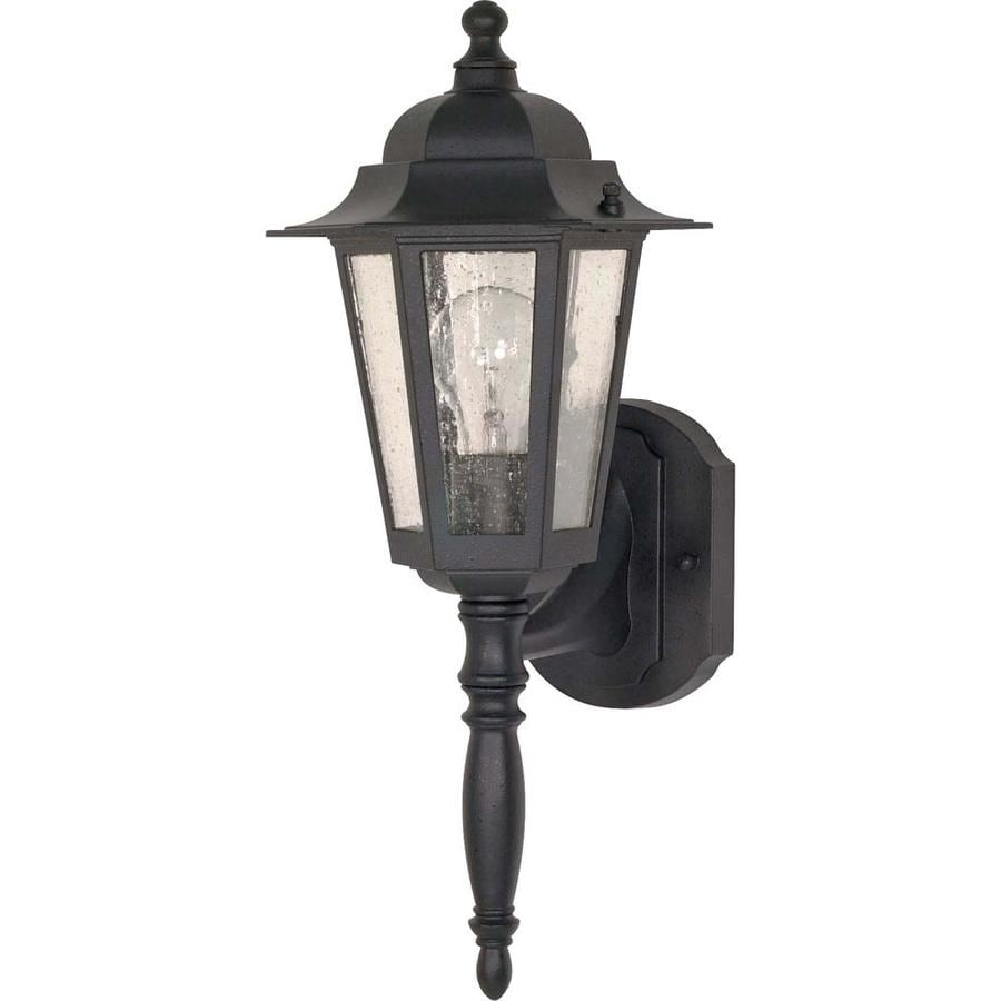 12-in H Textured Black Outdoor Wall Light