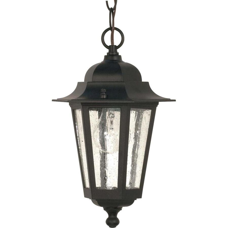 16.78-in W Textured Black Outdoor Flush-Mount Light