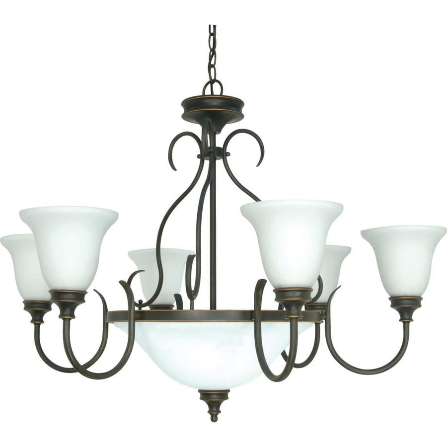 Bistro 34-in 9-Light Rustic Bronze Tinted Glass Candle Chandelier
