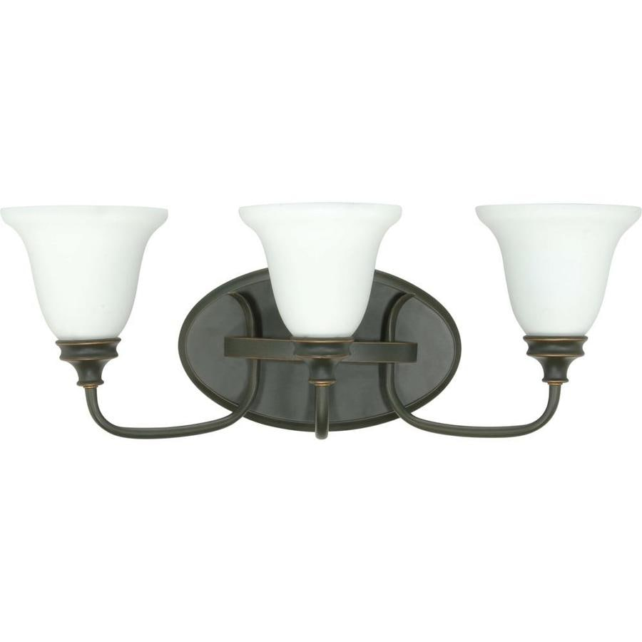Bistro 3-Light 9-in Rustic Bronze Vanity Light