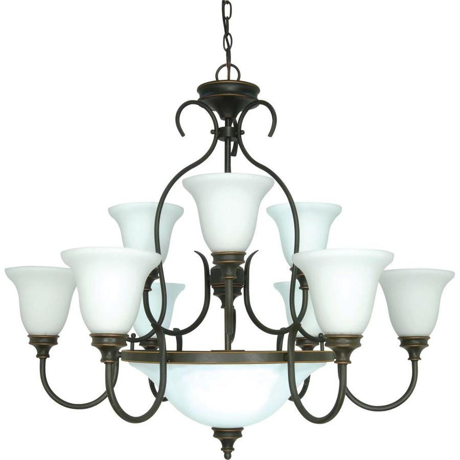 Bistro 34-in 12-Light Rustic Bronze Tinted Glass Candle Chandelier