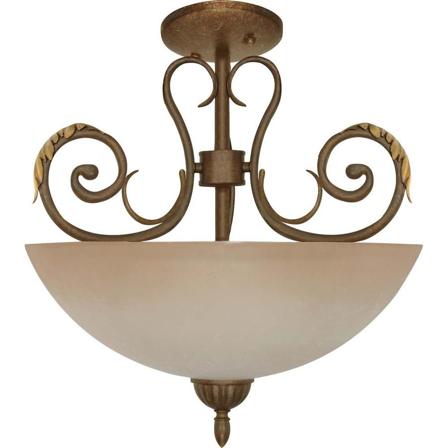 Shop Divina 17.64-in W Dune Gold Tea-Stained Glass Semi-Flush Mount Light at Lowes.com