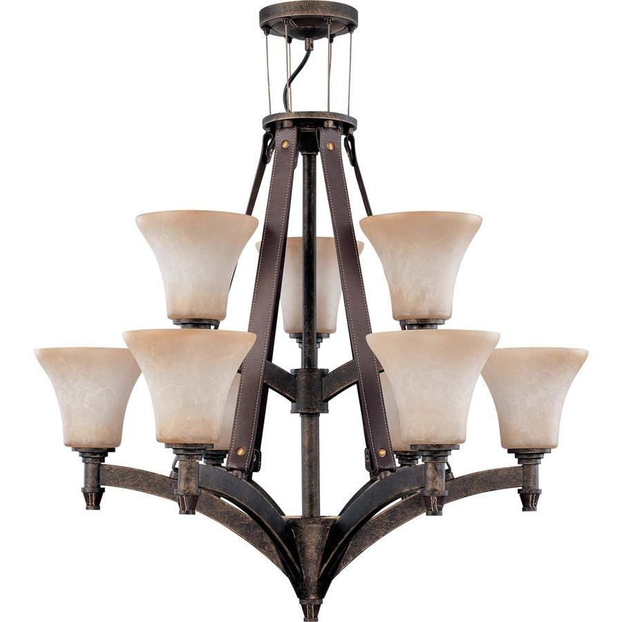 Viceroy 28-in 9-Light Golden Umber Bronze Tinted Glass Tiered Chandelier