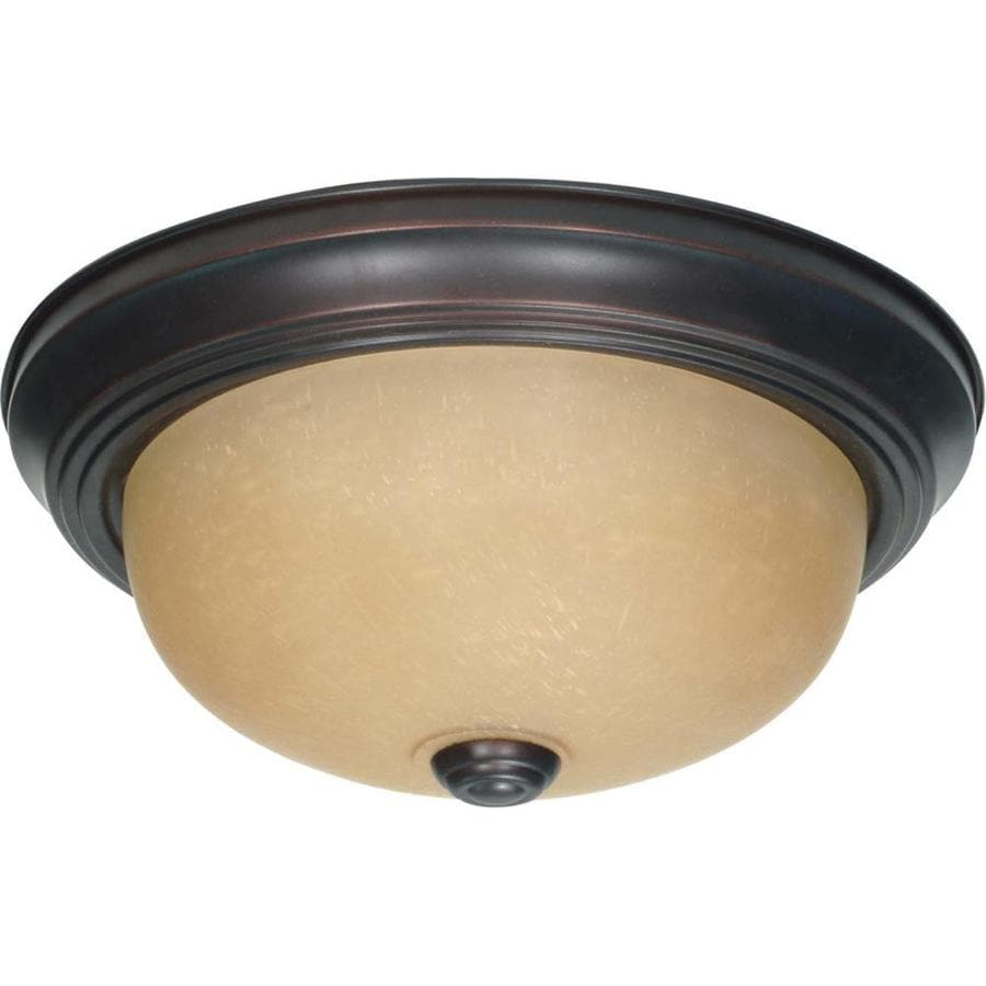 11.37-in W Mahogany Bronze Ceiling Flush Mount Light