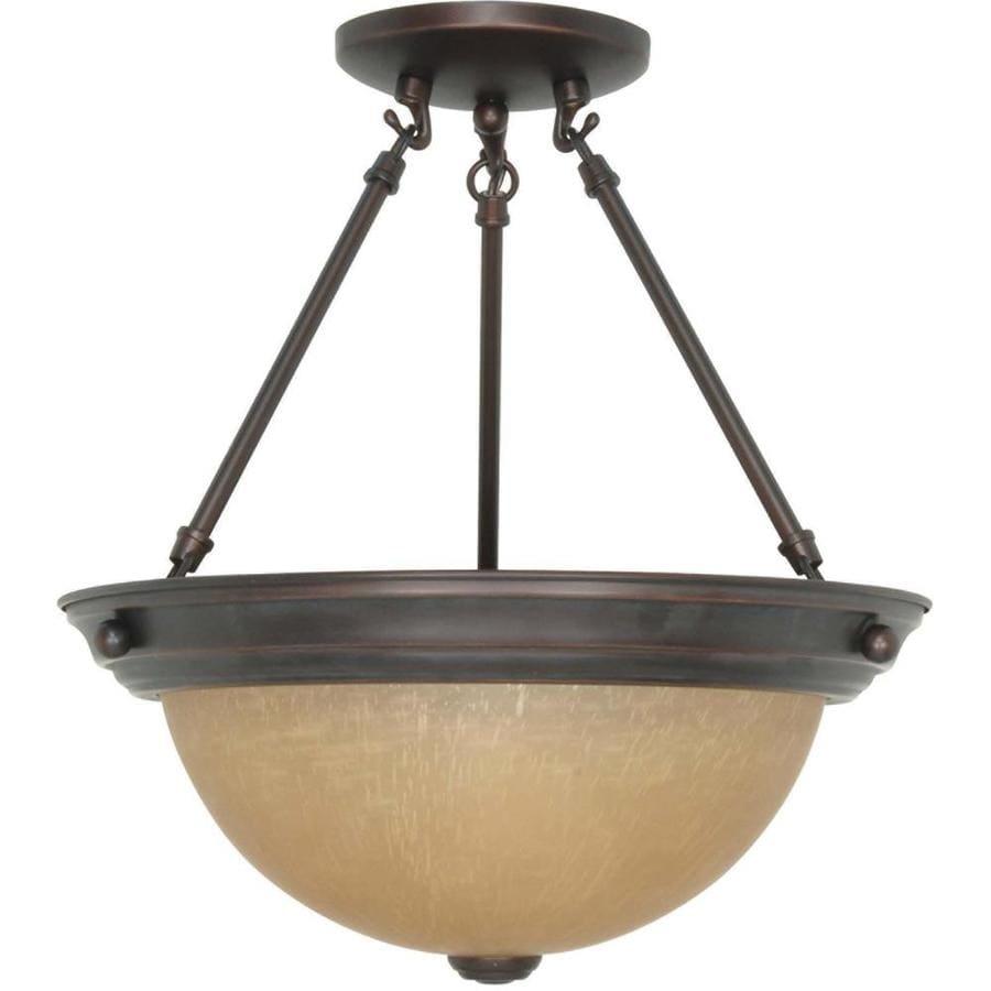 Divina 13.72-in W Mahogany bronze Tea-stained Glass Semi-Flush Mount Light
