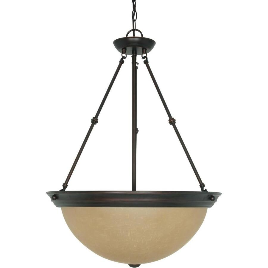 Rockport Milano 20.5-in Mahogany Bronze Single Tinted Glass Pendant