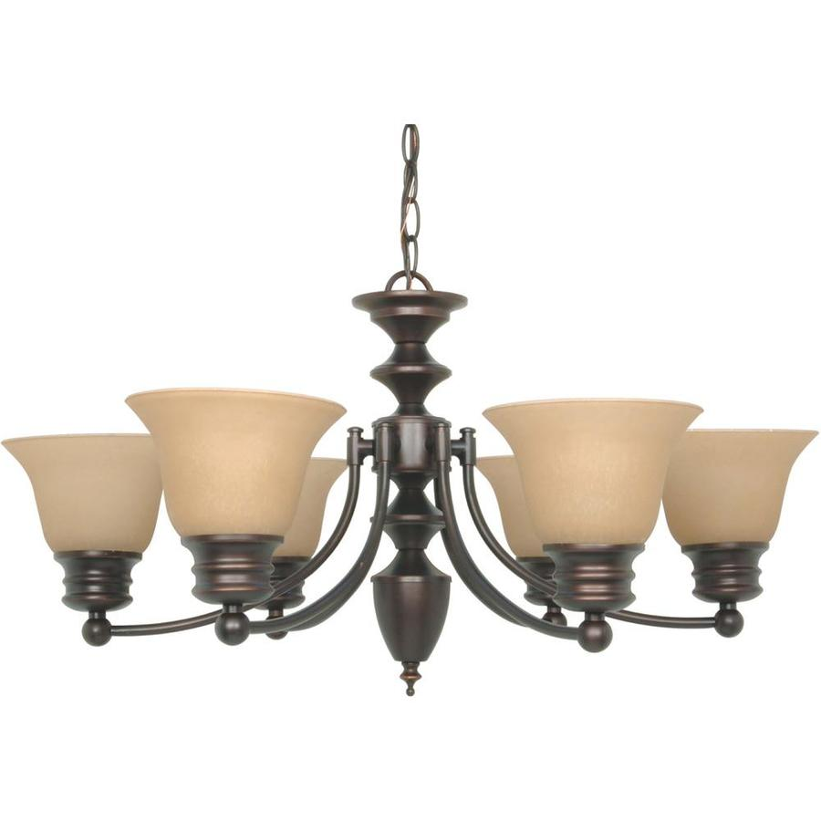 Empire 26-in 6-Light Mahogany bronze Candle Chandelier