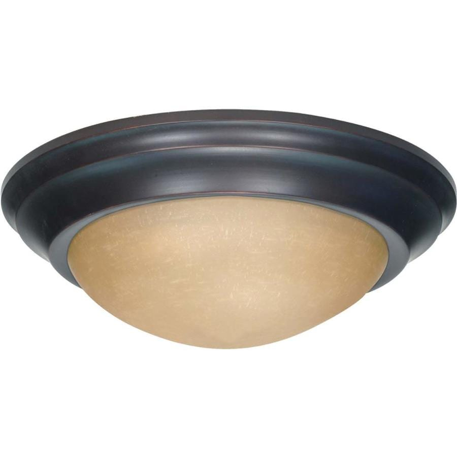 14-in W Mahogany Bronze Flush Mount Light