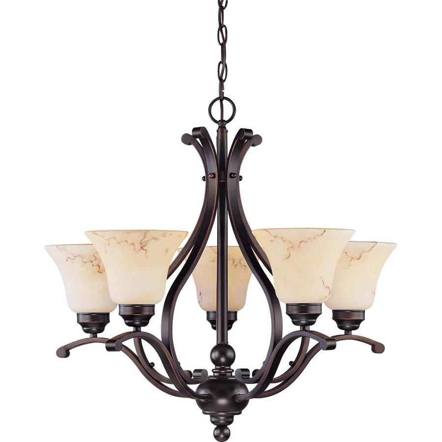 Anastasia 23.62-in 5-Light Copper espresso bronze Tinted Glass Candle Chandelier