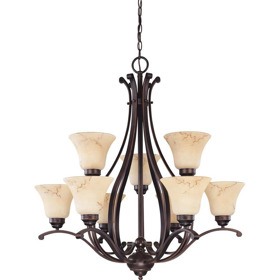 Anastasia 34-in 9-Light Copper Espresso Bronze Tinted Glass Candle Chandelier