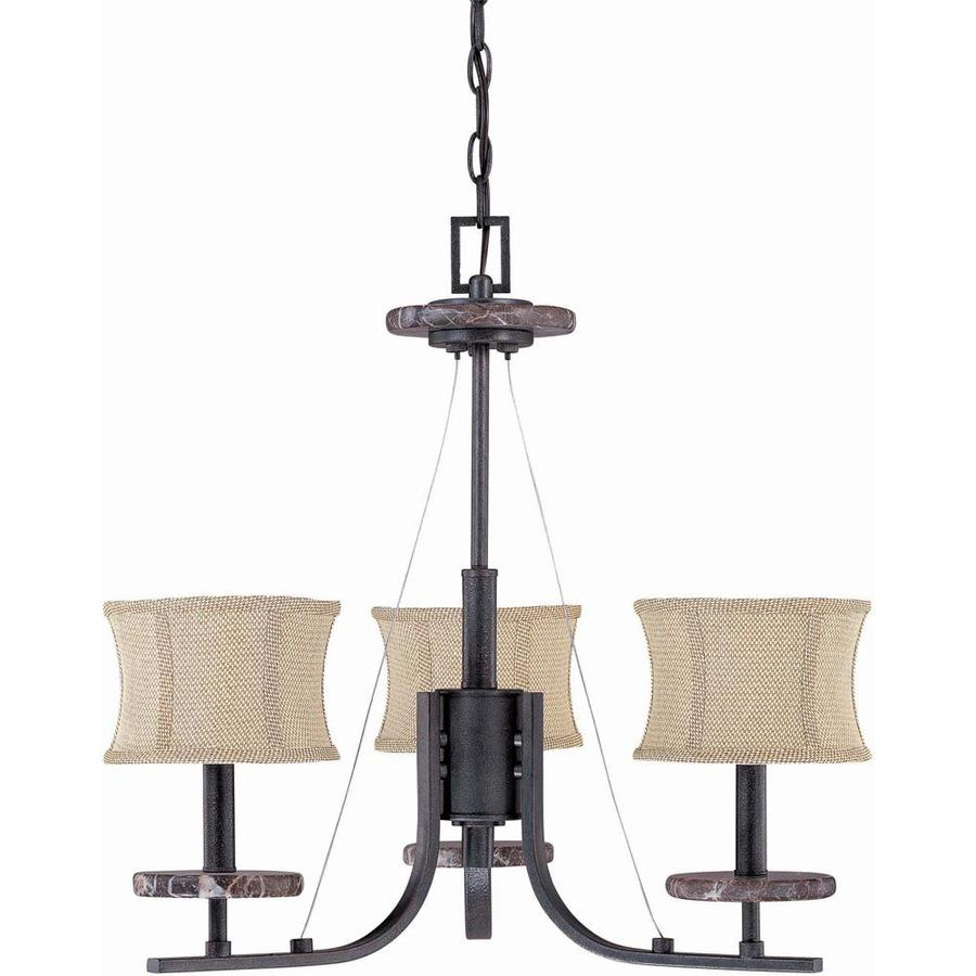Madison 22-in 3-Light Ledgestone Bronze Candle Chandelier