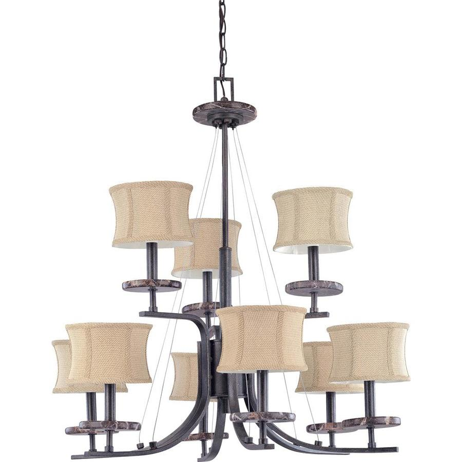 Madison 32-in 9-Light Ledgestone Bronze Tiered Chandelier