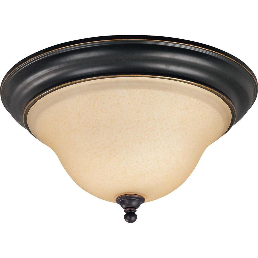 15-in W Rustic Bronze Ceiling Flush Mount Light