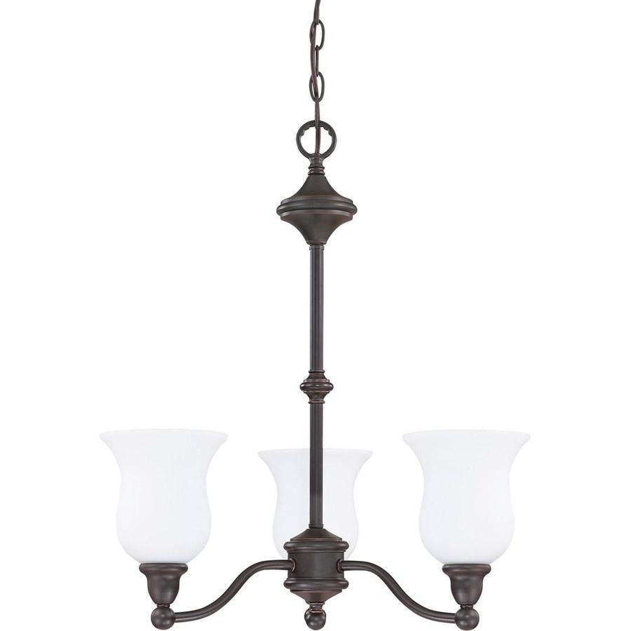Glenwood 22-in 3-Light Sudbury Bronze Tinted Glass Candle Chandelier