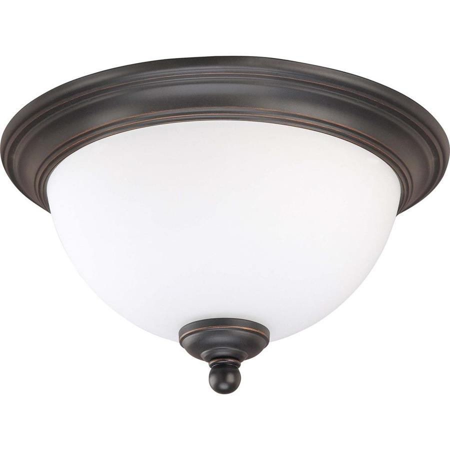 1-in W Sudbury bronze Flush Mount Light
