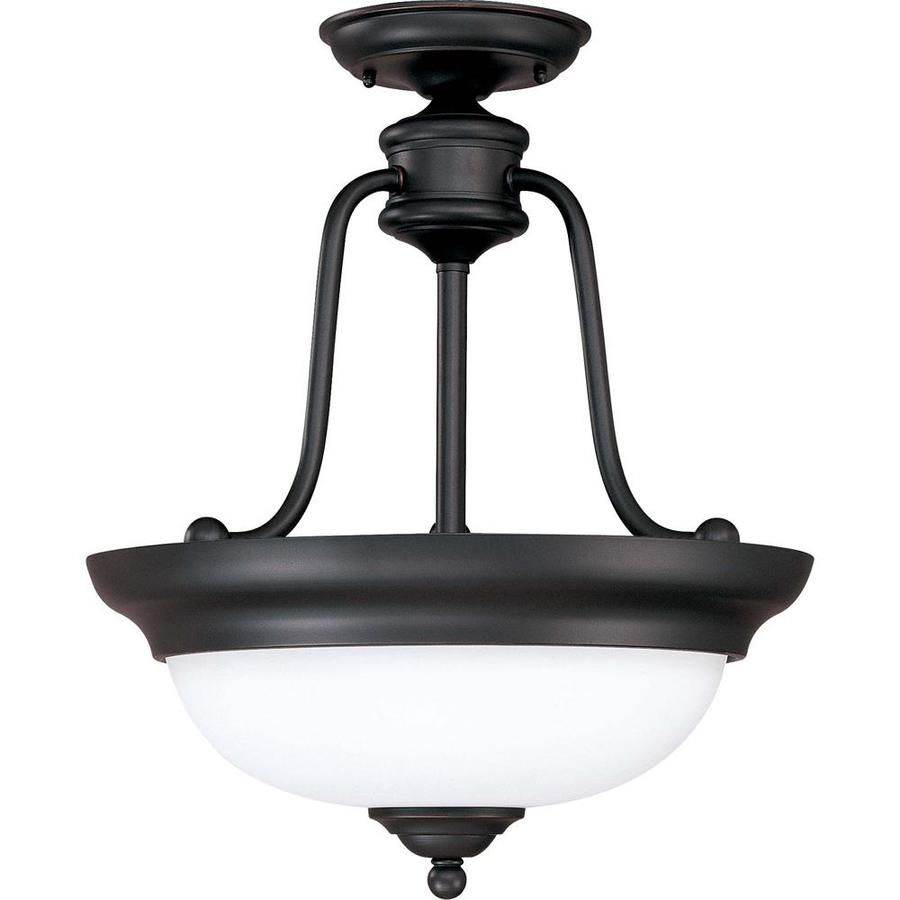 Divina 17.76-in W Sudbury Bronze Frosted Glass Semi-Flush Mount Light