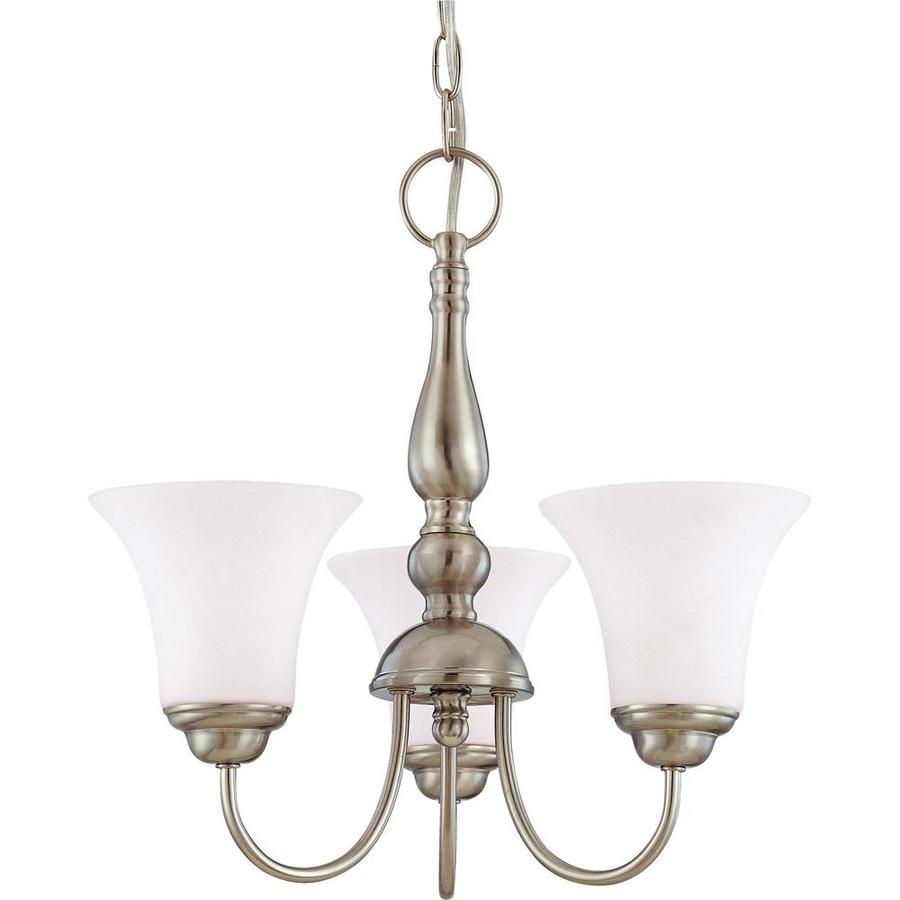 Dupont 16-in 3-Light Brushed Nickel Tinted Glass Candle Chandelier