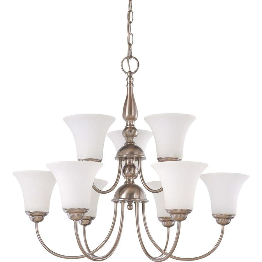 Dupont 27-in 9-Light Brushed Nickel Tinted Glass Tiered Chandelier