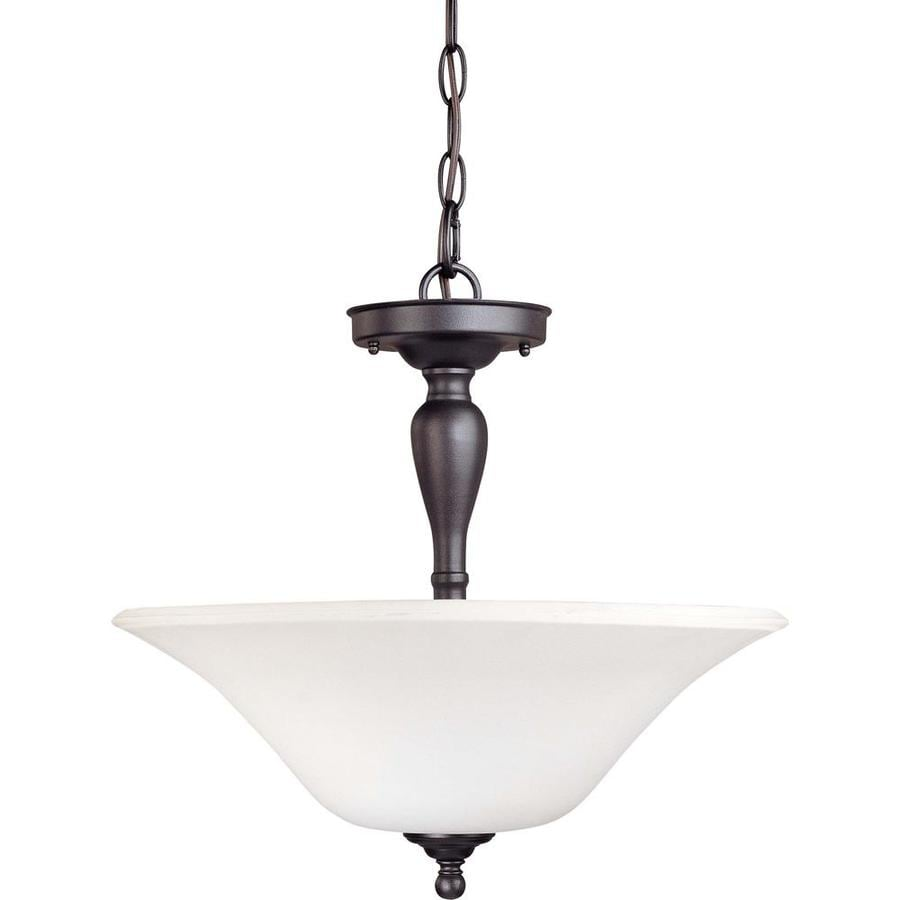Divina 17.52-in W Dark Chocolate Bronze Frosted Glass Semi-Flush Mount Light