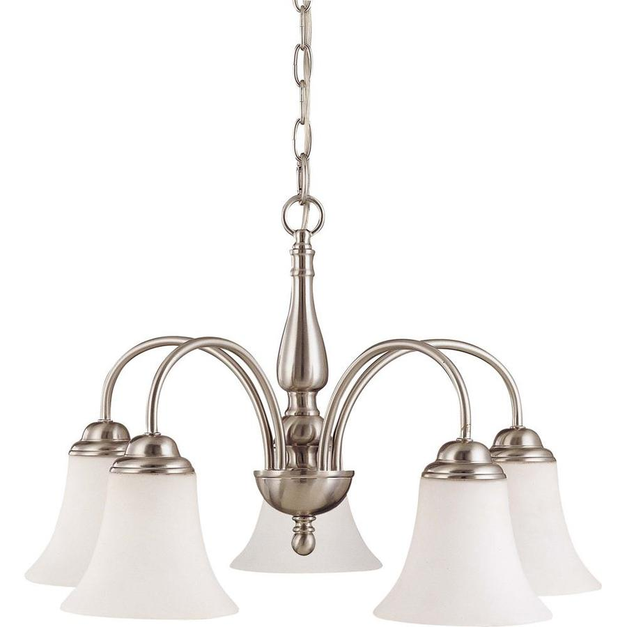 Dupont 21.5-in 5-Light Brushed Nickel Tinted Glass Candle Chandelier